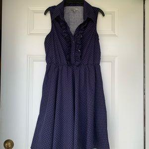 Bailey Blue Polka Dot Sleeveless Collared Dress-Lg